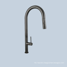 Kitchen stainless steel black pull faucets