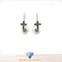 Venta al por mayor joyas de perlas estilo de la mujer AAA CZ 925 pendientes de plata (E6552)