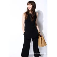 Fashion Ladies Nylon Side Split Knit Vest Sweater