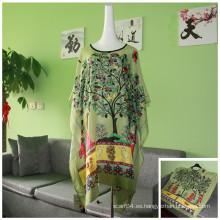 Trade Assurance Primavera Otoño Moda Vintage Mujer Patrón Impresión Floral Viscosa Blusa Mujeres Camiseta de manga corta de murciélago