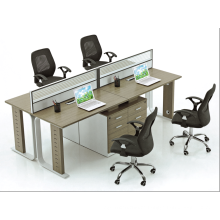 2.4m 4 people routine office glass workstation with drawers