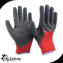 10 gauge dark red polycotton liner 3/4 coated black latex on palm safety gloves/working glove