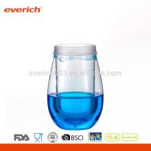 2016 vasos de vino decorativos plásticos con líquido de colores