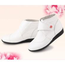 2015 new style ladies classy fuzzy nurse white leather boots