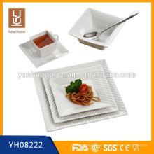 2014 Großhandel neue quadratische Abendessen Set weiße Porzellan Platten
