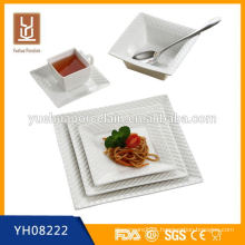 high quality square shape wholesale tableware ceramic dinner set