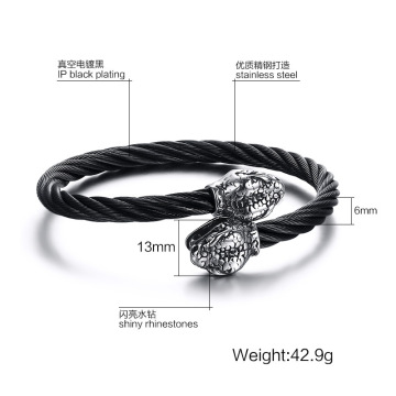 Wire Mesh Stainless Steel Snake Kepala Bangle Bracelet