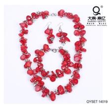 Vermelho irregular liga de pedra acessório conjunto de jóias
