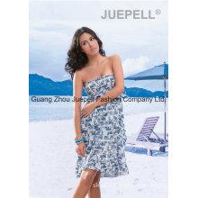 Women Woven Abstract Print Strapless Beach Dress