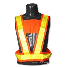 Colete de segurança de tráfego de alta visibilidade poliéster tira reflexiva colete (yky2849)