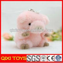 Nuevo diseño de alta calidad felpa rosa cerdo llavero