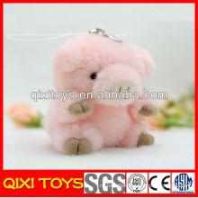 New design high quality plush pink pig keychain