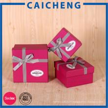 Boîte à bijoux de luxe faite main en papier recyclé avec ruban