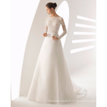 Тяжелая бисероплетение длинные рукава кружева и органзы свадебное платье свадебное платье