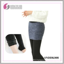 Winter Elegant Ladies Fake Two-Piece Culottes Added Fleece Foot Leggings