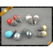 Colorful Sea Shell Pearl Pendant, Crystal Beads Pendant Necklace Jewellery (EF099)