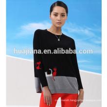 100% cashmere women's applique sweater