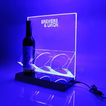 Affichage de support de vin en acrylique transparent LED