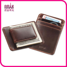 New London Stitch Leather Bifold Front Pocket ID Card Wallet with Money Clip Brown