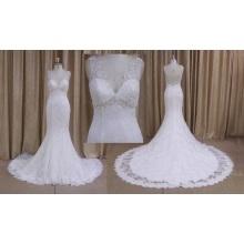 Beaded Long Train Lace Wedding Dress