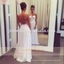 2015 Sexy Summer Sweetheart Spaghetti Straps Hot Chiffon Lace Beach Backless Wedding Dress