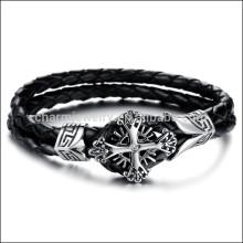 2015 bracelets croisés en chaîne en cuir tressé en acier titane en acier titane neuf PH869