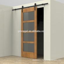 Solid wood interior barn door sliding