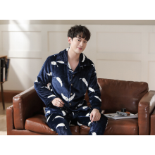 Mens Flannel Autumn Winter Warm Nightwear Pajamas Set