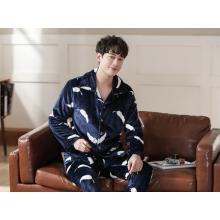 Conjunto de pijama de flanela masculina outono inverno quente