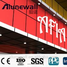 Alunewall ignifuge rouge brillant panneau composite en aluminium feuilles ACP dans l'utilisation de revêtement mural