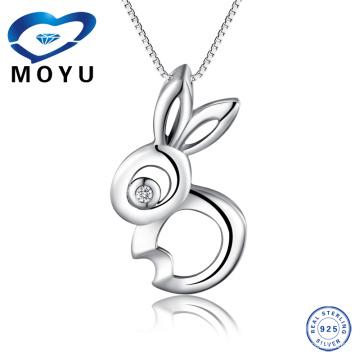 Venta al por mayor Joyería 100% auténtica plata esterlina 925 colgante conejo lindo colgante de animales