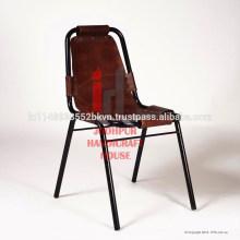 Промышленные коричневый кожаный и металлические ножки обеденный стул