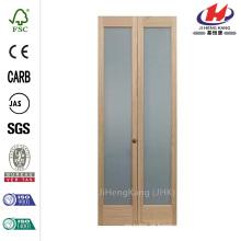 24 polegadas x 80 polegadas de vidro fosco completo pinho interior Bi-Fold porta