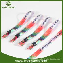 Poliéster de transferencia de calor impreso pulsera de satén con clip de plástico