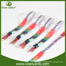 Polyester heat transfer printed satin wristband with plastic clip