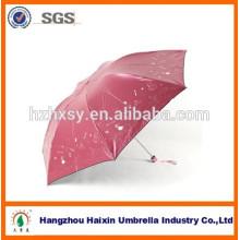 Neu! Klebstoff beschichtet UV Schutz Mini Regenschirm mit Stickerei