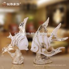 Interior decorative lucky cute fish resin crafts statues beautiful home decor hotel decor pieces