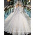LS00169 high neck high quality lace bead women bride dresses long white wedding dress
