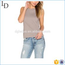 Fibra de bambú Custom open espalda cuello redondo camiseta de mujer