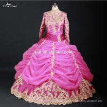 RSW735 Pink And Gold Long Sleeve High Neck Dubai Muslim Hijab Wedding Dress