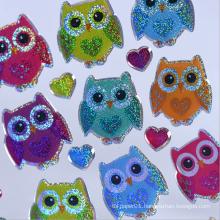 Custom Decorative Owl Color Plastic Sticker