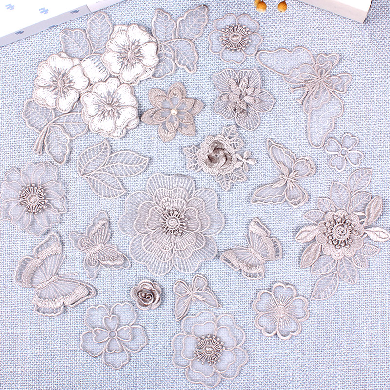 Iron On Patch 3d Grey Lace Embroidery