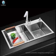 Modular kitchen Designs Farmhouse Apron Single Hole Handcrafted Stainless Steel Kitchen Sink