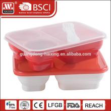 контейнер для пищи ящик пластиковый обед с тремя отделениями