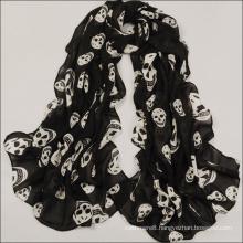 Womens Beach Voile Soft Long Skull Printed Wrap Shawl Scarf (SW107)