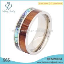 Titanium mens paua coque et anneau en bois, anneaux en titane en titane