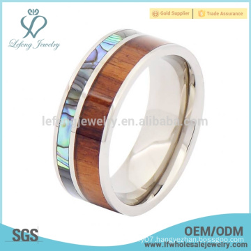 Titanium mens paua shell and wood ring,fashion silver titanium rings