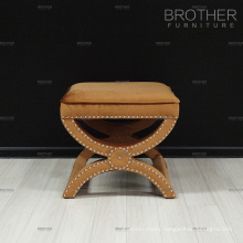 Modern design luxury x shape fabric tufted stool ottoman with nails