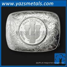 personalizar fivelas de cinto de metal, fivelas de cinto de prata de alta qualidade personalizadas