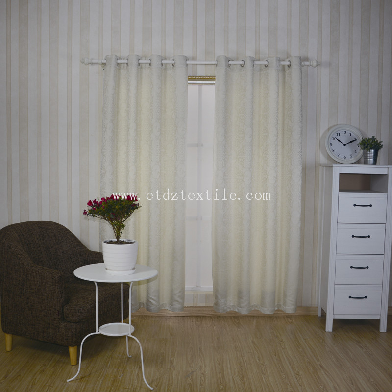 Ivory Jacquard Pattern Curtain Fabric GF025